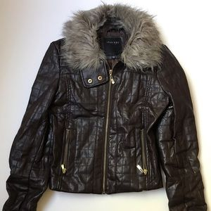 Therapy Fur Trimmed Quilted Leather Jacket